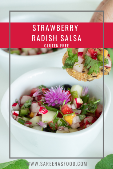 Picture of strawberry radish salsa with title on it.