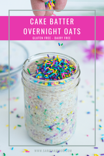Labelled picture of cake batter overnight oats